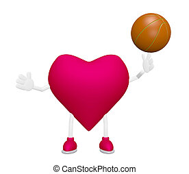 Heart training with basketball heart health sport concept on...