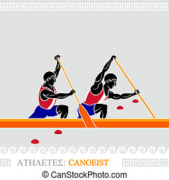 Athlete canoeist - Greek art stylized canoe team at the...