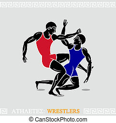 Athlete Wrestlers - Greek art stylized classic wrestlers