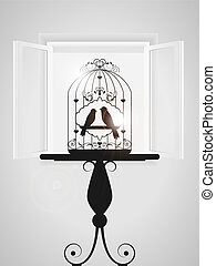 Bird cage - Vector illustration with birdcage and window