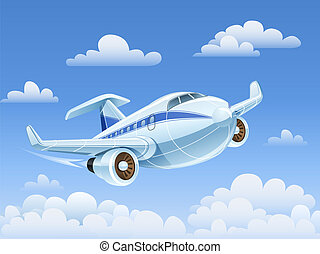 passenger airplane flying in sky vector illustration EPS10...
