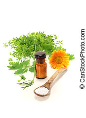Homeopathy with globules, an apothecary jar and natural...