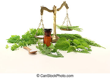 Homeopathy with apothecary scale - Homeopathy globules, an...