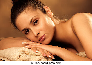 woman in wellness  - woman enjoy in spa salon