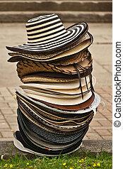 Sombrero V - A stack of hats, sombrero vueltiado,