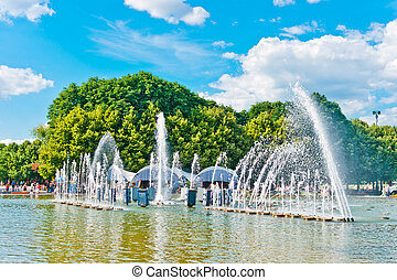 Fountain in Gorky Park, Moscow, Russia, East Europe