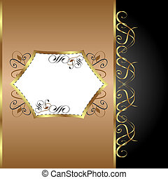 Holiday Background. Greeting Card. Gold flower