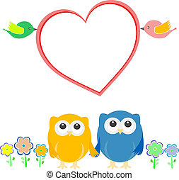 Valentine card with bird couple, owls and heart - Valentine...