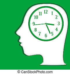 Man silhouette thinking about time. vector