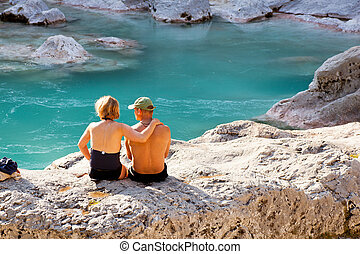 Soca river - View of people in relax, Slovenian Soca river