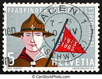 Postage stamp Switzerland 1963 Boy Scout - SWITZERLAND -...