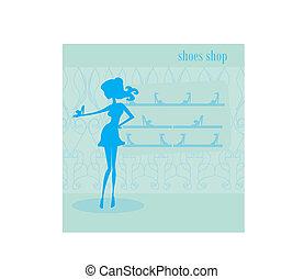 shop, pige, mode, indkøb, Sko