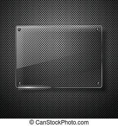Metallic background with glass framework. Vector...