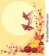 chinese bird design - an illustration of a chinese floral...