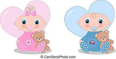 newborn baby boy and baby girl