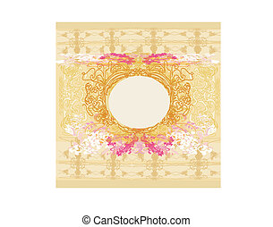 Grunge Frame For Congratulation With Flowers - vector