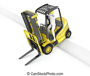Yellow fork lift truck stuck after falling from ramp,...