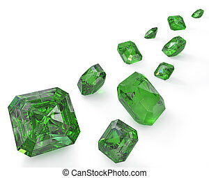 Trayectoria, verde, esmeraldas