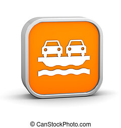Vehicle Ferry sign on a white background. Part of a series.