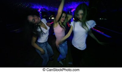 Three girls dance and then blowing kisses closeup at...
