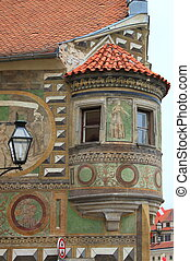 Medieval balcony in Telc, Czech Republic
