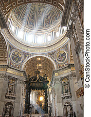 Saint Peters dome - Interior of Saint Peters dome with 4 ray...