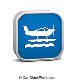 Sea Plane sign on a white background. Part of a series.