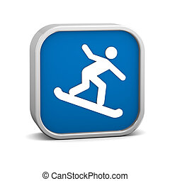 Snowboarder sign on a white background. Part of a series.