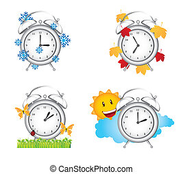 clock season winter, spring with autumn and summer. vector...