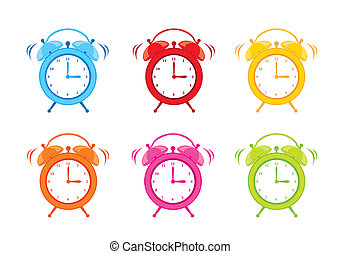 cute clock alarm isolated over white background. vector...