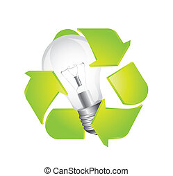 recycle sign with light bulb isolated over white background....