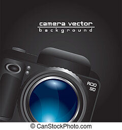 camera with blue lens with space for copy over black...