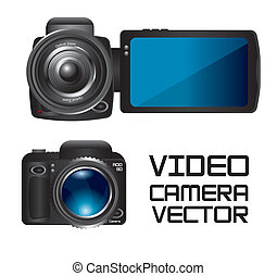 video camera - video and camera isolated over white...