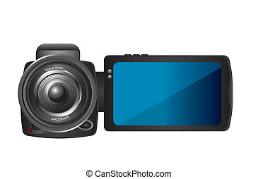 video camera isolated over white background. vector...