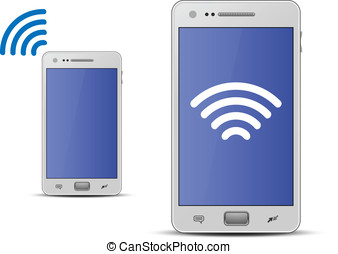 Smartphone and wireless technology - Wireless concept Vector...