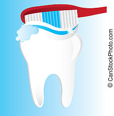 brushing teeth over blue background. vector illustration