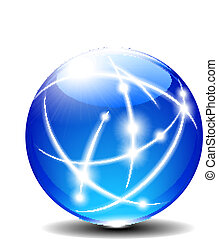 Blue Sphere - Transparent Blue Communication Internet Globe