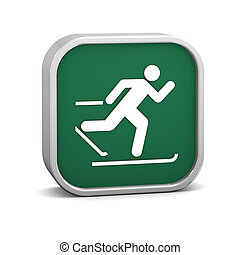 Cross country skiing sign on a white background. Part of a...