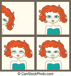 Photoboot pictures of a cute red-haired girl - vector...