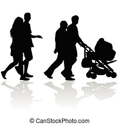 couple people with baby stroller silhouette on white