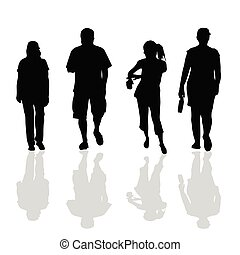 people walking black silhouette of art vector illustration