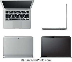 laptop - illustration of laptop, seen from different angles