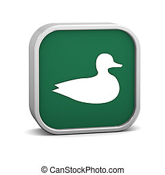 Duck sign on a white background. Part of a series.