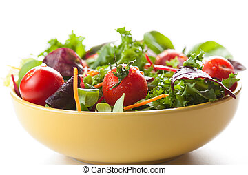 Bowl of fresh green salad with tomatoes - Bowl of fresh...
