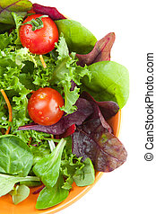 Bowl of fresh green salad with tomatoes - Overhead view of a...