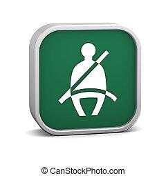asiento, cinturón, señal