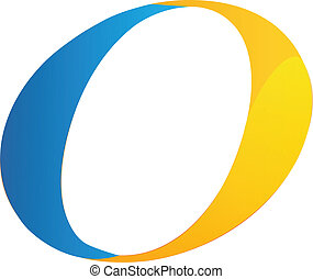 O letter blue and orange vector