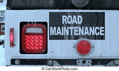 Road maintenance. - Detail of commercial truck. Winter in...