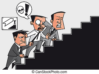 Competition in the success stairway - Businessmen fighting...