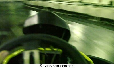 Ride on race track for karting, first-person view